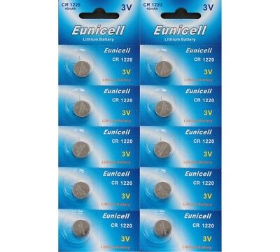 10 X Eunicell Cr1220  Dl1220, Ecr1220 3 Volt Lithium Button/coin Cell Batteries