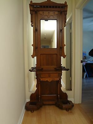 ORIGINAL EARLY AMERICAN ANTIQUE OAK  ENTRY HALL HAT RACK - HALL STAND - Ca 1905