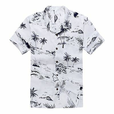 e0e88295 Men Hawaiian Shirt Cruise Tropical Luau Beach Aloha Party White Map Palm  Island