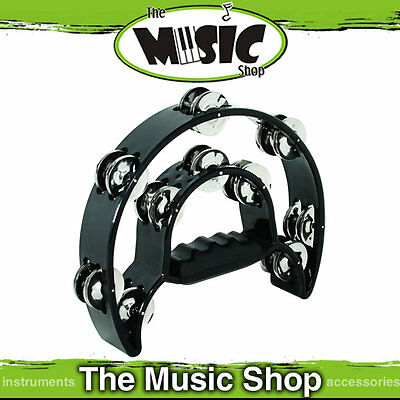 New MP Black Half Moon Tambourine with 20 pairs of Jingles - Mano Percussion
