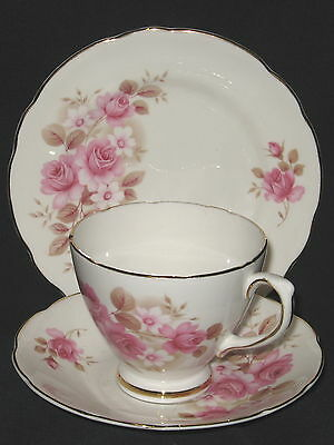 UNUSED Royal Sutherland Pink Roses Cup Saucer &  Plate Trio - more available