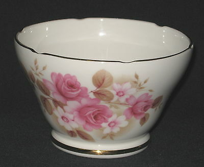 UNUSED Royal Sutherland Pink Roses Bone China Sugar Bowl