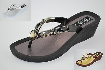d888857263032b Grandco Ladies Bamboo Sandal Jeweled WedgeThong Black Brown or White 26255E