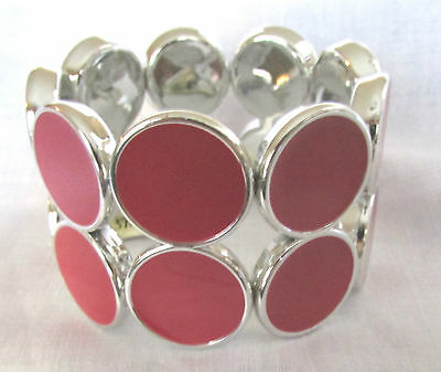 Pink & Silver Double Round Stretch Style Bracelet By Kristine