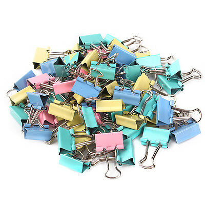COLORFUL 15MM WIDTH Metal Binder Clip Office Paper File Organize 60Pcs