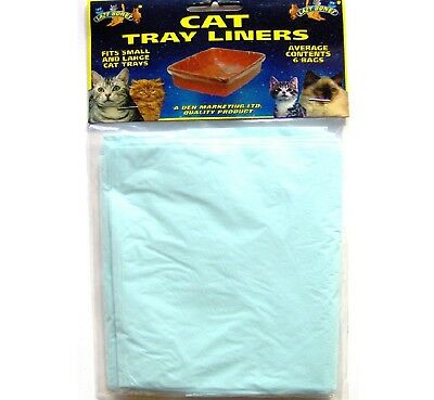 CAT TRAY LINERS x6 - (50 x 40cm) - Toilet Litter Waste Liner Pet Kitten dm Mat