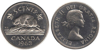 1963 Canada 5 cent - Nice Uncirculated Canadian nickel large quantity