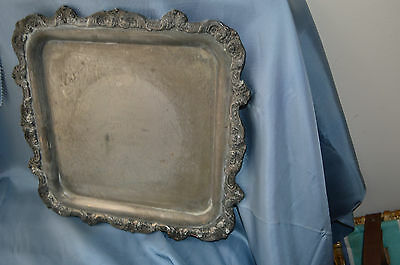 Vintage Poole Silver Plate E.P.C.A. SQUARE FOOTED ORNATE Tray