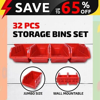 32PC Storage Bin Rack Tray  Wall Mounted Rail Tool Box Organiser Garage Workshop