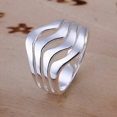 *uk* 925 Silver Plt Water Wave Statement Ring Waves Surfer Tide Ripples Thumb