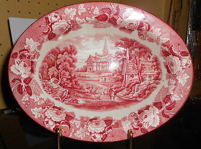"""VINTAGE OVAL VEGETABLE BOWL~8""""~WOOD & SONS~ENOCH WOOD'S ENGLISH SCENERY~PINK~"""