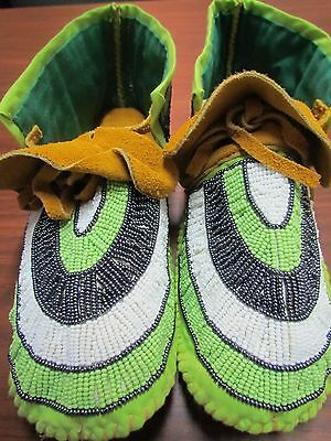 Native American Full Bead Moose Hide Moccasins 9 Inches Green Sun Burst  Elegant