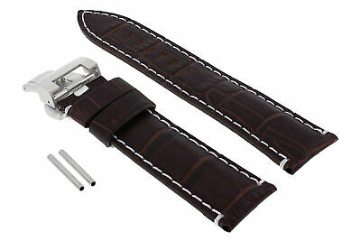 22Mm Leather Watch Band Strap Deployment Clasp Buckle For Breitling Brown Ws #18