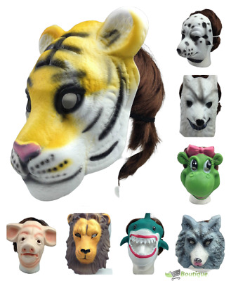 ANIMAL HEAD FACE MASK Halloween Costume Party Prop Novelty Toys Adult Kids