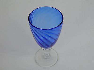Large Blue/Clear Glass Goblet
