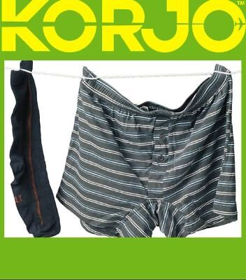 KORJO Pegless Clothesline Travel Camping No Peg Clothes Line Airer Rope Drier 3M