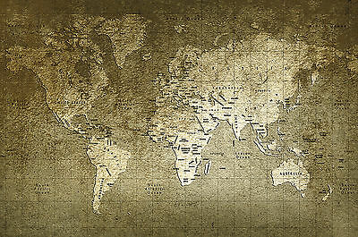 "modern vintage world map print atlas Poster or canvas 28"" x 20"""