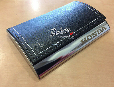 New 2016 Genuine Honda Merchandise Stainless & Leather Business Card Holder Case
