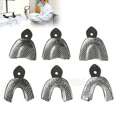 6Pcs/Kit Dental Autoclavable Metal Impression Trays Stainless Steel Hot Sale