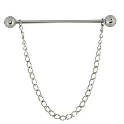 Mens Silver Collar Pin 6CM Barbell End Stainless Steel Tie Bar & Free Chain