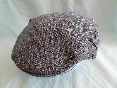 Blue Scottish Harris Tweed  Hat Hand Woven 100% Pure Wool Flat Cap