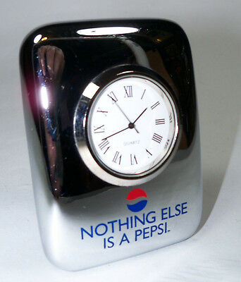 Collectible Chrome  Pepsi Cola Desk Clock - Nothing Else Is A Pepsi