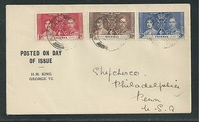 NIGERIA # 50-52 KING GEORGE VI, ROYAL CORONATION First Day Cover (1)
