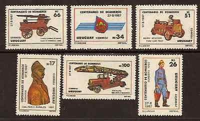 URUGUAY 1988 FIRE ENGINES FIREMEN Set of 6 values MNH