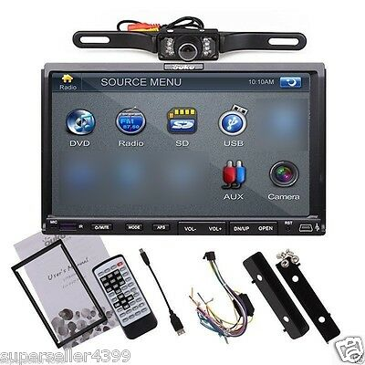 2 Din 7 Inch LCD Car Stereo DVD Player Radio USB SD Steer Wheel+ Rear Camera