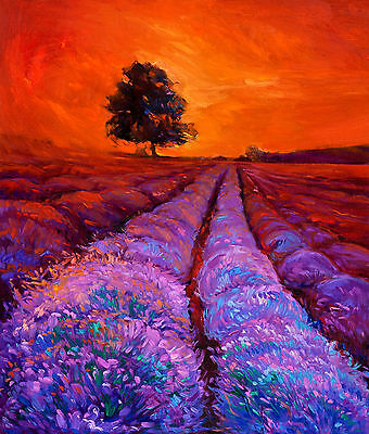 art painting  print purple blue modern australia landscape  large tree  24""
