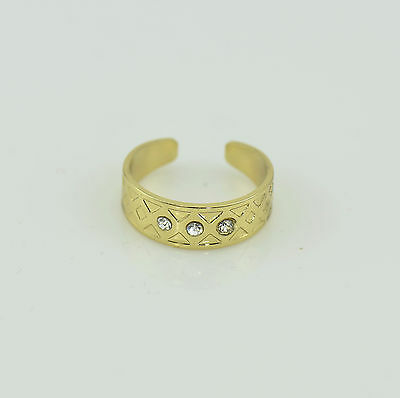 Toe Ring Gold Tone Adjustable With Triple Rhinestone Feature Brand New Uk