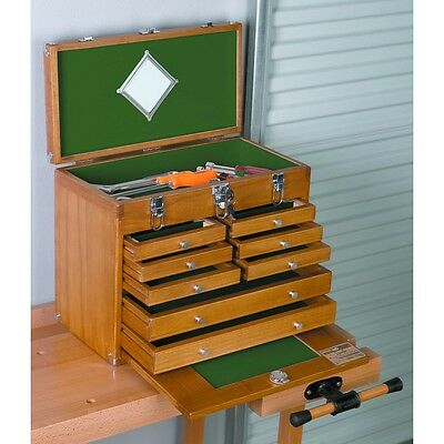 Beautiful 8 Drawer Wood Tool Chest for protected storage for your hand tools!