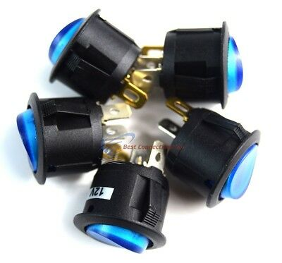 12VRound 3 Prong BLUE LED Rocker Switch SPST Toggle Switch 5 Pack EC-1217