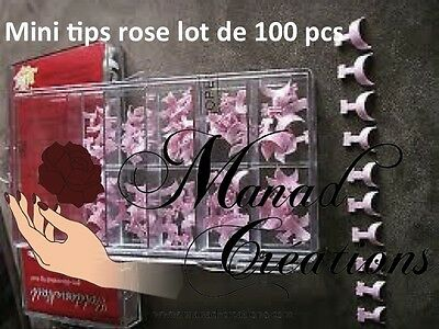 kit 100 pcs Bout Tips ROSE PINK Capsule Mini French Ongle Faux Nail Art Capsules