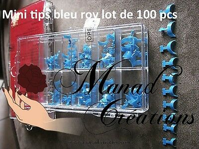 kit 100 pcs Bout Tips bleu roy  Capsules Mini French Ongle Faux Nail Art  lot