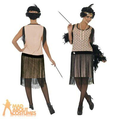 Adult 1920's Coco Flapper Great Gatsby Ladies Fancy Dress Costume Size 8-18