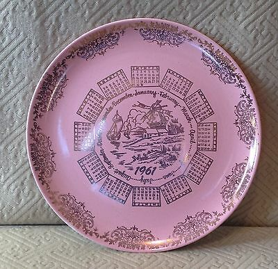 Vintage Taylor Smith Taylor Pink Year Plate 1961 Pebbleford by Gilkes