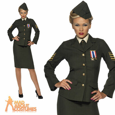 Wartime 1940's WW2 Army Officer Uniform Womens Fancy Dress Costume UK 8-26