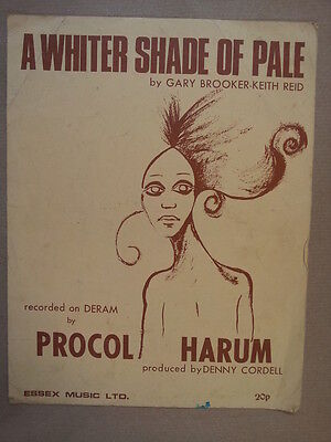 song sheet A WHITER SHADE OF PALE Prool Harum 1967