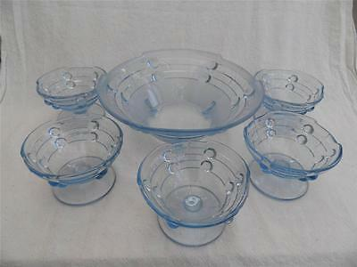 Blue serving bowl + 5 dishes FREE UK P&P