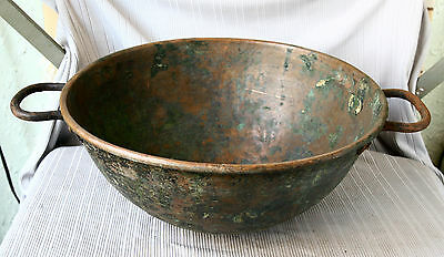 ANTIQUE 19`c ISLAMIC Ottoman Empire HAND FORGED COPPER Big Cooking POT PAN #