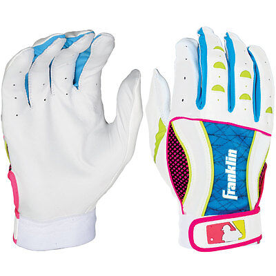 Franklin Insanity II Womens Fastpitch Batting Gloves - White/Blue/Pink - Small