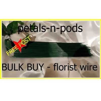 100 x 22 Gge FLORIST WEDDING FLOWER GREEN WIRE 9 inch bulk buy- FREE POST