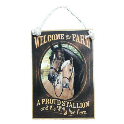 Country Printed Quality Wooden Sign with Hanger PROUD STALLION HORSES Plaque New