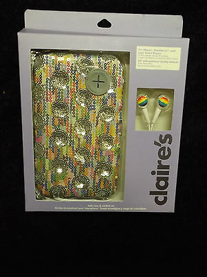 Smartphone tech case and earbud set sequined blackberry iphones new 2 pc trendy