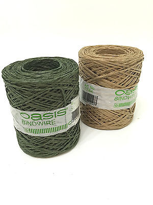 Oasis Bindwire Paper Covered Large 205 Metre Roll Floristry Wire Green Natural
