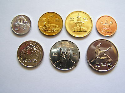 South Korea - set of 7 circulation coins - uncirculated from rolls