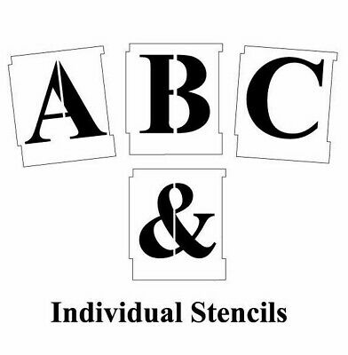 50mm ALPHABET STENCIL SET A to Z Upper case Letter templates Times New Roman