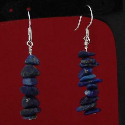 6-10 mm Natural LAPIS LAZULI Chips Sterling Silver Dangle Earrings