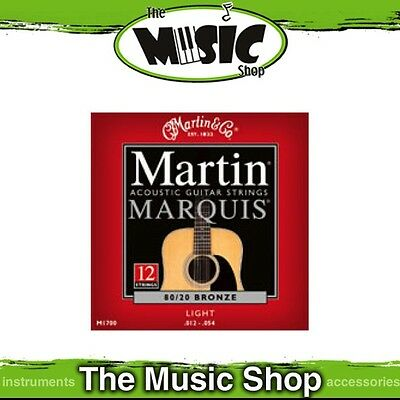 Martin Marquis 80/20 Bronze 12-String Acoustic Guitar Strings 12-54 Light- M1700